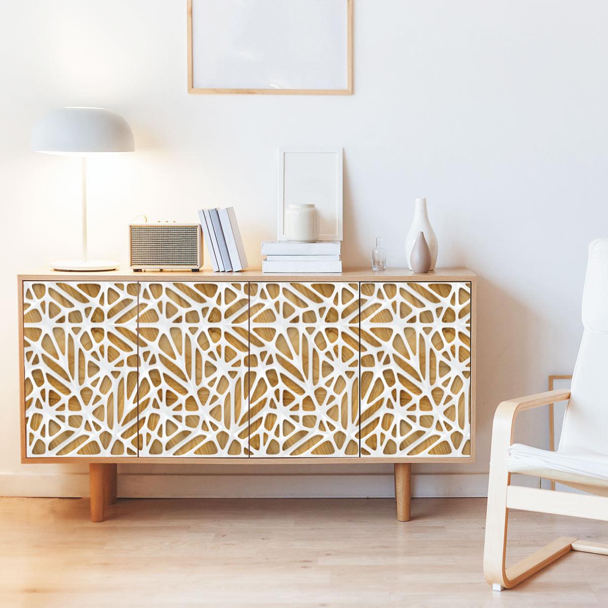 sticker meuble scandinave bois design blanc