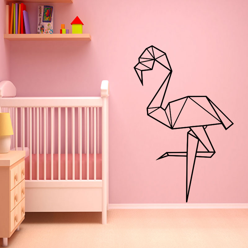Sticker Origami Flamant Rose Stickers Animaux Ambiance