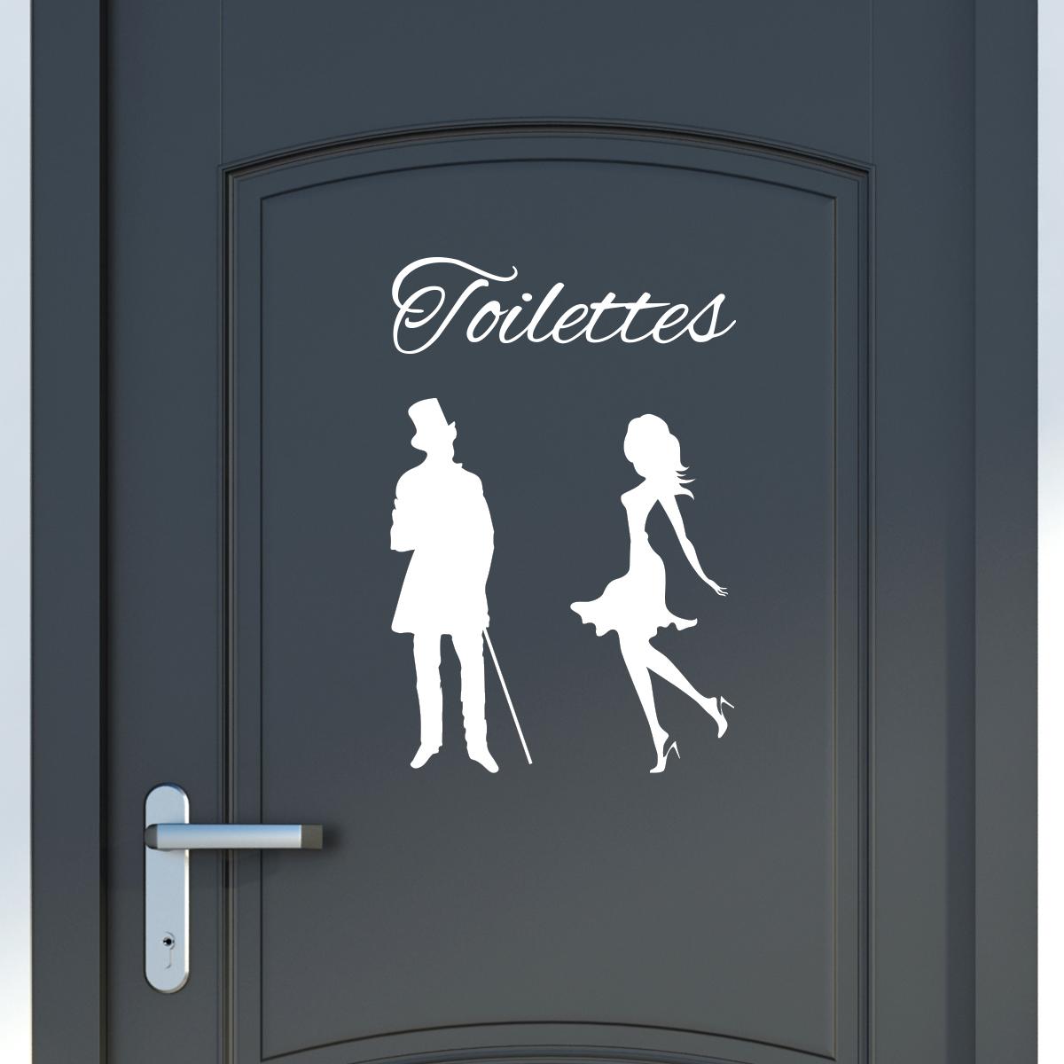 Sticker Porte Toilettes Silhouettes Homme Et Femme