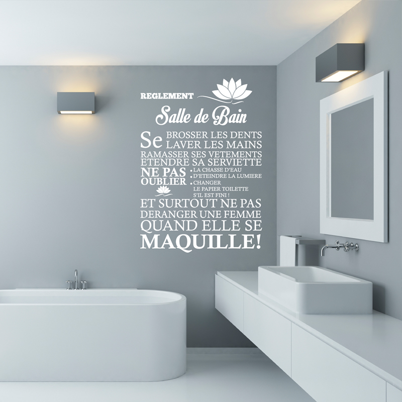 Sticker Rglement De La Salle De Bain Stickers Citations