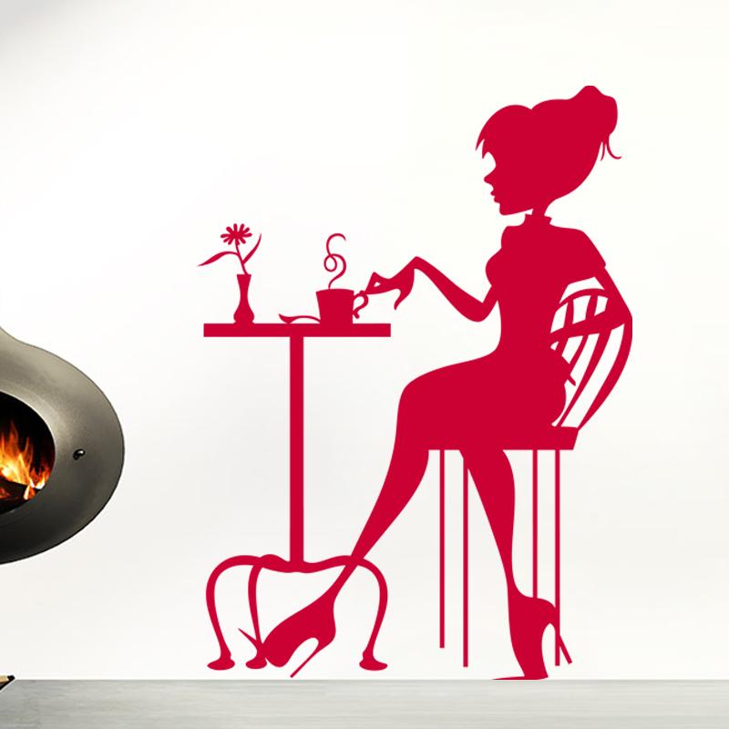 Sticker Silhouette Femme Buvant Un Caf Stickers Musique