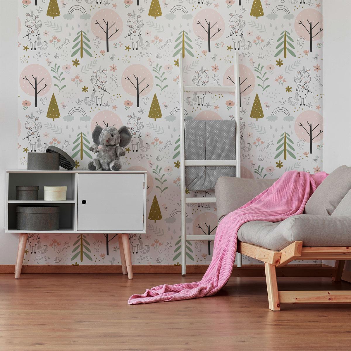 sticker tapisserie chambre enfant les licornes des bois