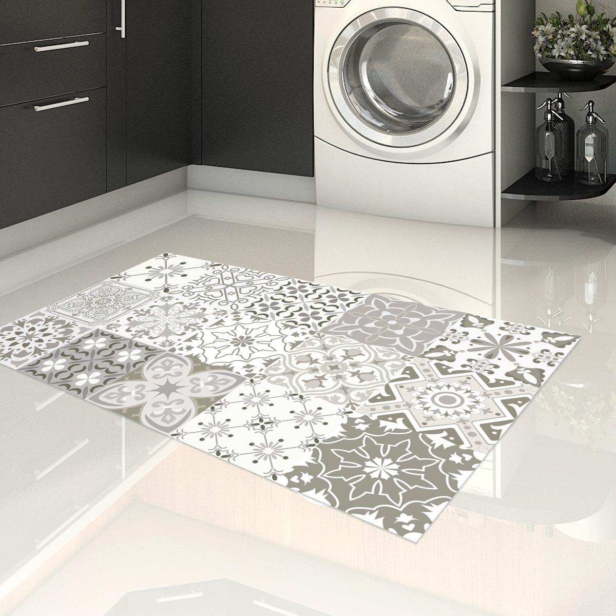 tapis vinyle carrelages nuances de gris romeo 60 x 100 cm stickers salle de bain et wc salle de bain ambiance sticker