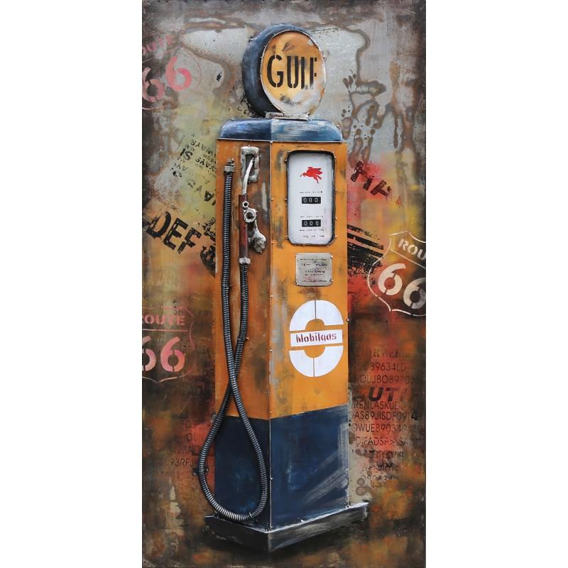 tableau art metal 3d pompe a essence route 66