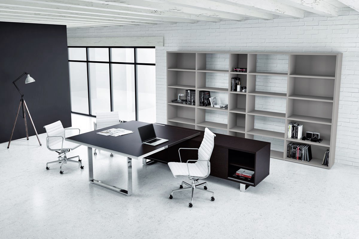 Black Executive Chrome Modern Desk Ambience Dor