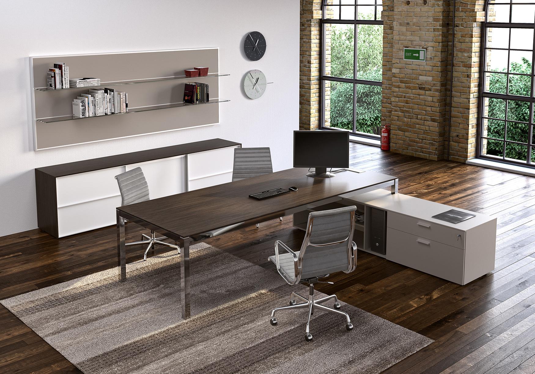 Metal Wood Modern Work Desk Ambience Dor