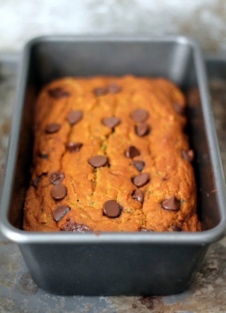 Pumpkin Zucchini Chocolate Chip Bread! Super moist, low-fat and healthy made with zero butter!