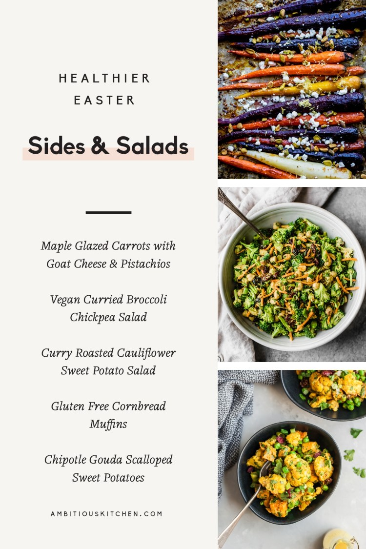 collage of healthier easter side dishes