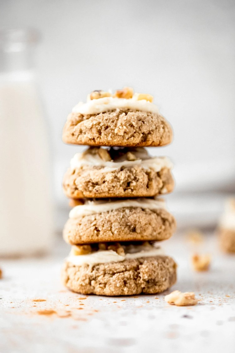 gluten free banana cookies in a stack