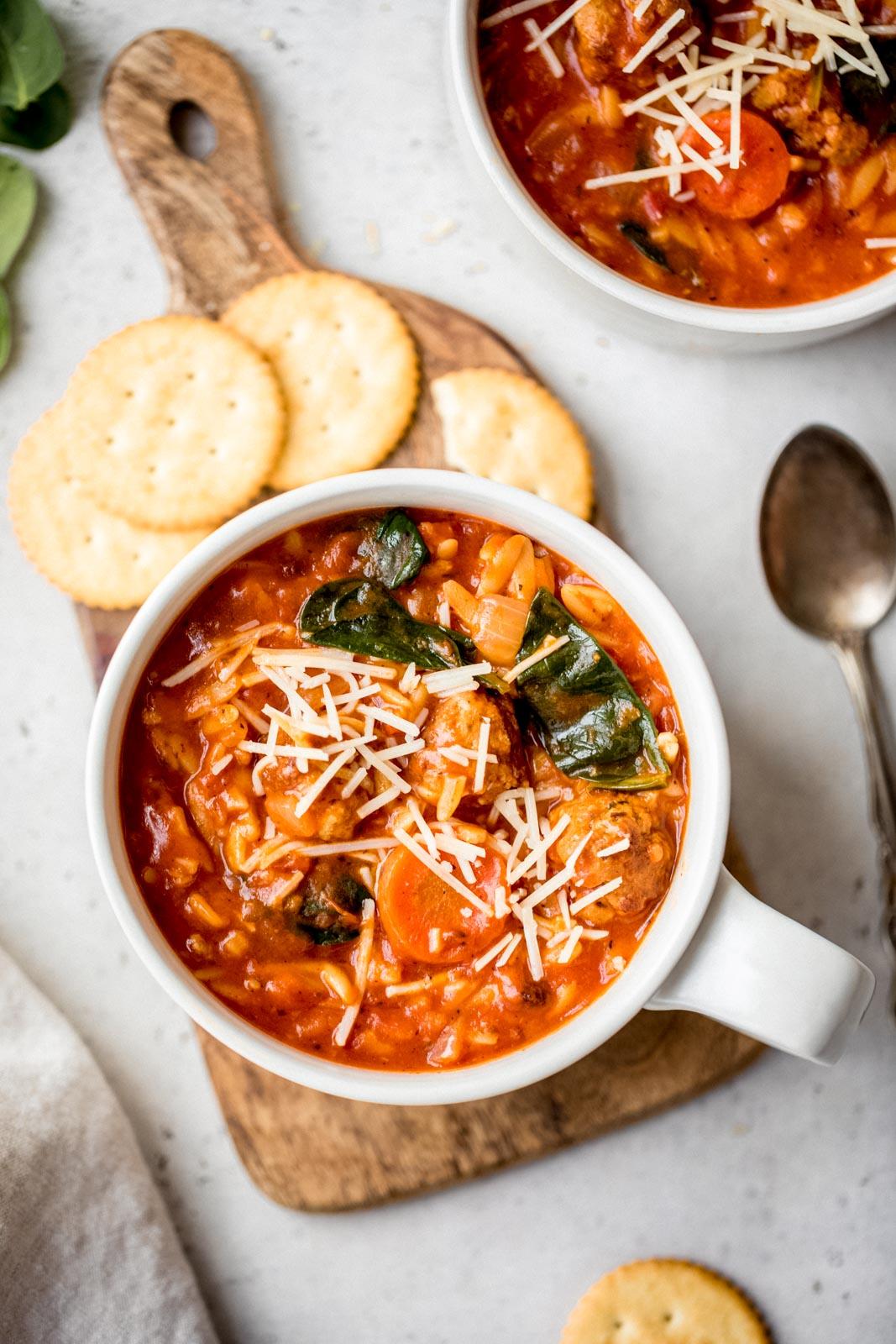 Download Creamy Tomato Orzo Soup with Mini Turkey Meatballs ...