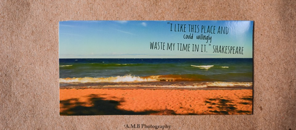 "Nature photo magnet ""Superior View' with a quote from Shakespeare, ""I like this place and could willingly waste my time in it."""