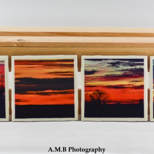 Set of 4 Country Sunrise Coasters featuring a series of images highlighting country sunrises in the Fall of 2017, captured in LaSalle and Marshall Counties in Illinois. Coasters designed and made in the Fall of 2018.