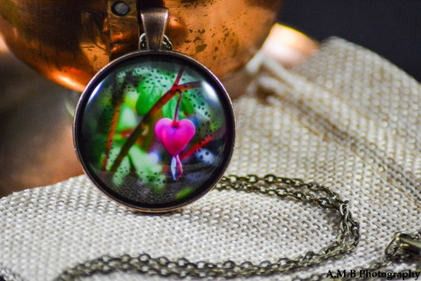 A pink Bleeding Heart set in an Antique Copper bezel with a brass chain. Image captured in the Spring of 2017 and pendant created in the Winter of 2019.