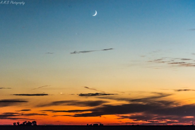A waning crescent moon captured just after the sunset on a Fall evening in 2019.