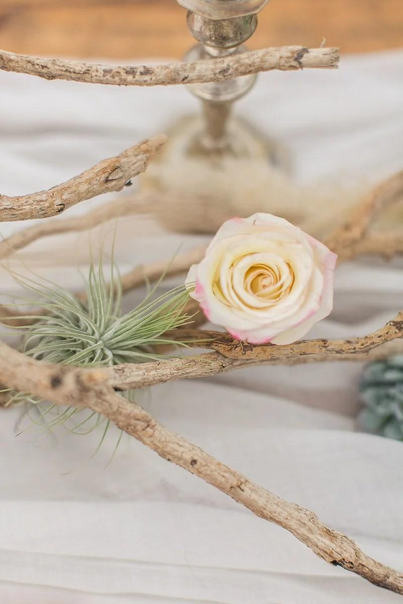 Desert Wedding Tischdeko mit Airplants und Treibholz