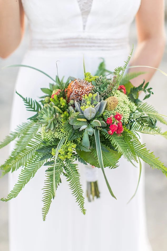 Brautstrauss-Idee für einen grünen Strauss mit Sukkulenten