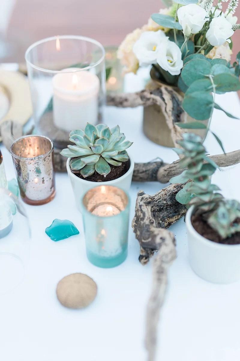 Hochzeitstischdeko mit Sukkulenten