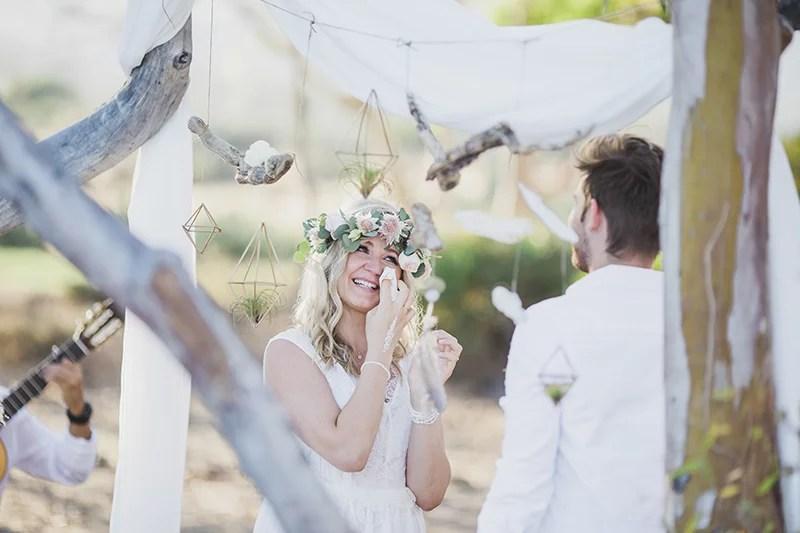 Emotionale freie Trauung am Strand, Elopment Hochzeit am Meer in Spanien