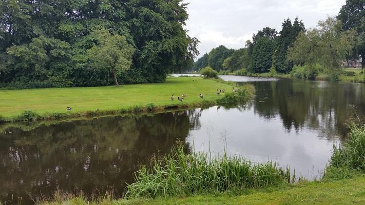 Wandelen over het Groot Frieslandpad door het Borgerspark in Veendam