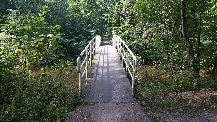 Wandelen over het Groot Frieslandpad over brug in natuurpark in Oude Pekela