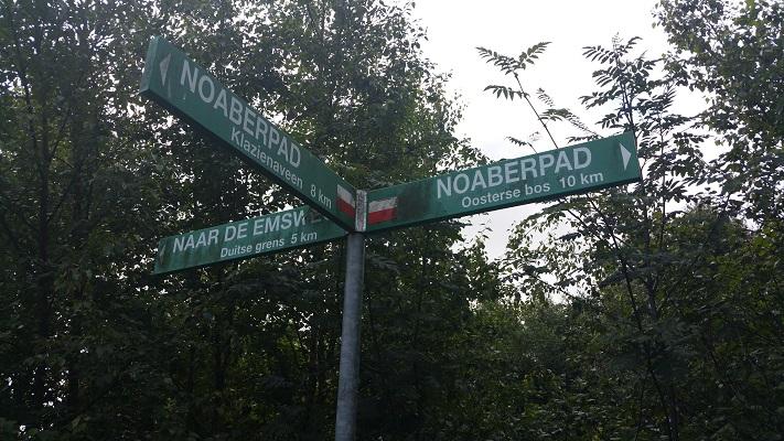 Handwijzer Noaberpad op een wandeling van Klazienaveen naar Schoonebeek over het Noaberpad