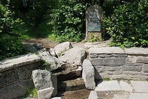 Bron van de Ruhr tijdens wandelreis over Rothaarsteig in Sauerland in Duitsland