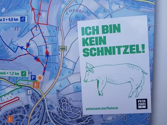 'Ich bin kein schnitzel' op wandeling van Winterberg naar Kahler Asten tijdens wandelreis over Rothaarsteige in Sauerland in Duitsland