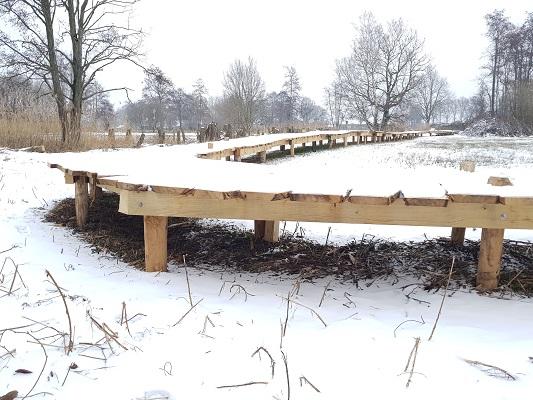 Knuppelbrug tijdens IVN-wandeling Over Peelrandbreuk en wijstgronden in Uden
