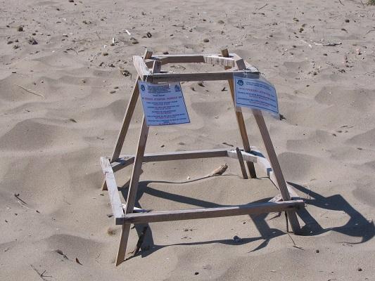 Markering schildpaddennest op strand Kalamaki tijdens wandelvakantie op Grieks eiland Zakynthos