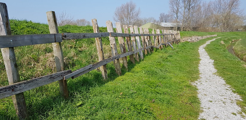 Wandelen over het Noord-Hollandpad van Nieuwesluis naar Den Oever bij oude zeewereing Wieringen