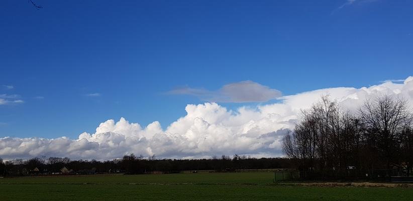 Wandelen over Ommetje Abdij van Berne in Heeswijk met blauwe luchten
