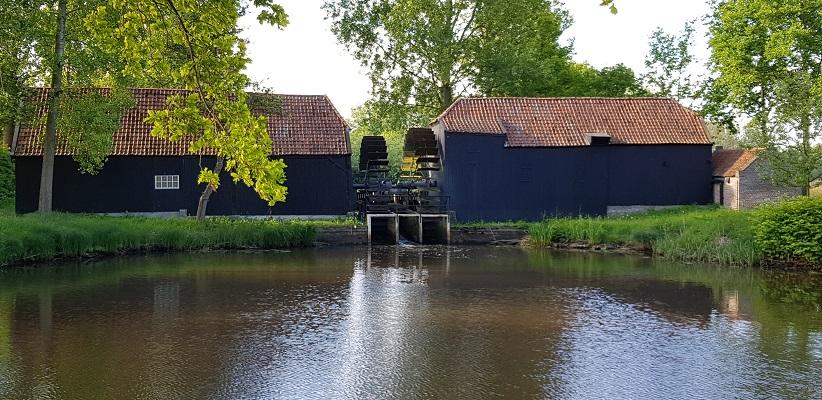 Wandelen buiten de binnenstad van Eindhoven over het Tongelrepad bij de Collse watermolen
