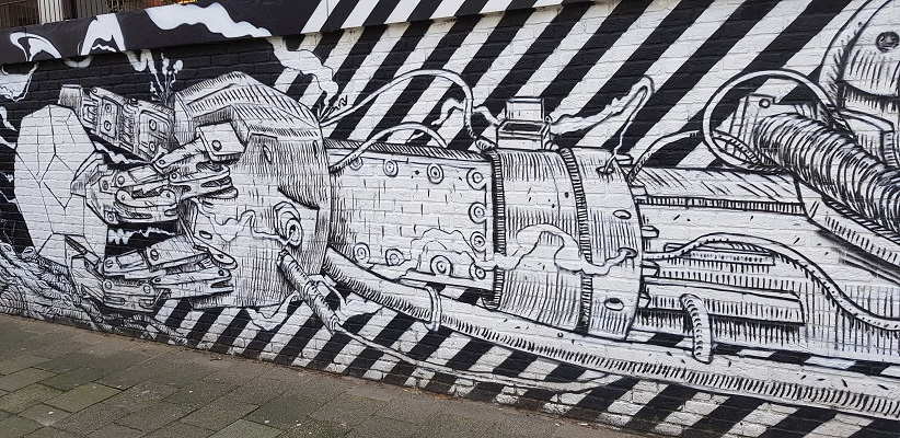Graffity kunstwerk tijdens wandeling Creative Crosswalks Rotterdam