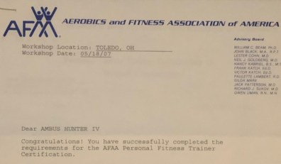 My certification letter to become a certified personal trainer with Aerobics and Fitness Association of America