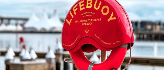 A red life buoy