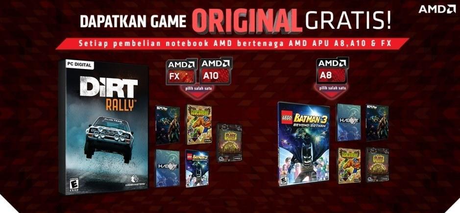 Promo Game Gratis Pembelian Notebook AMD dengan APU A8, A10, FX
