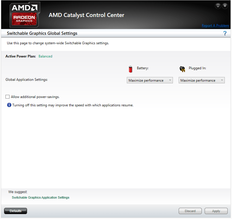 AMD Catalyst Switchable Graphic Setting