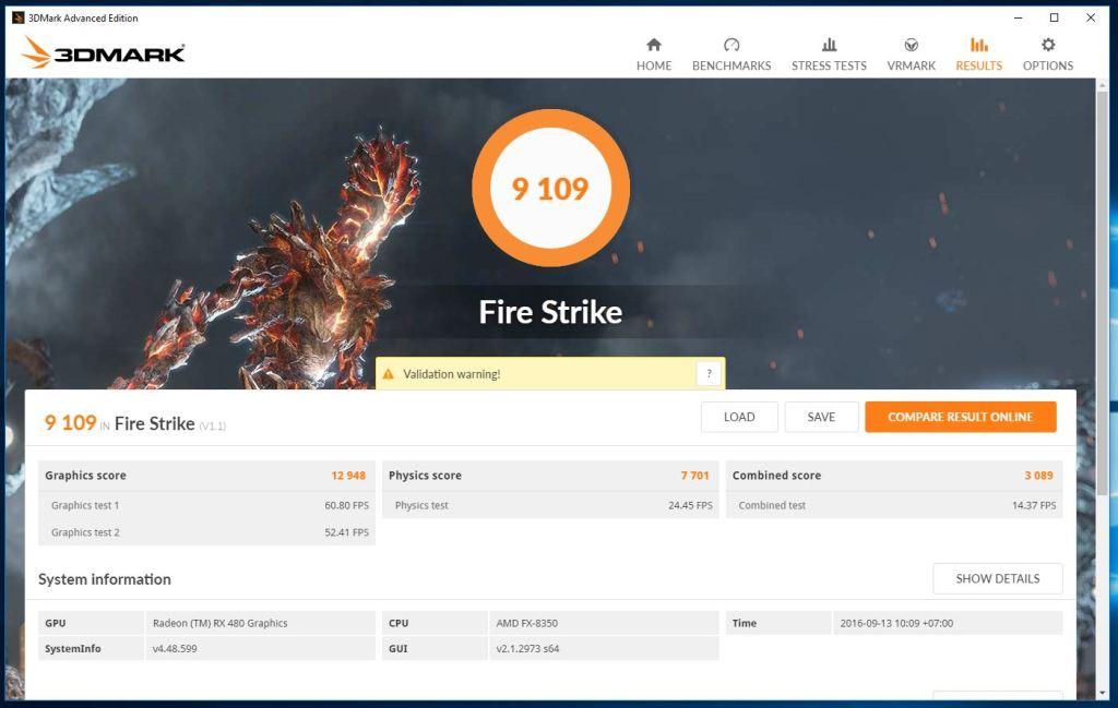 Pengujian RX 480 FireStrike
