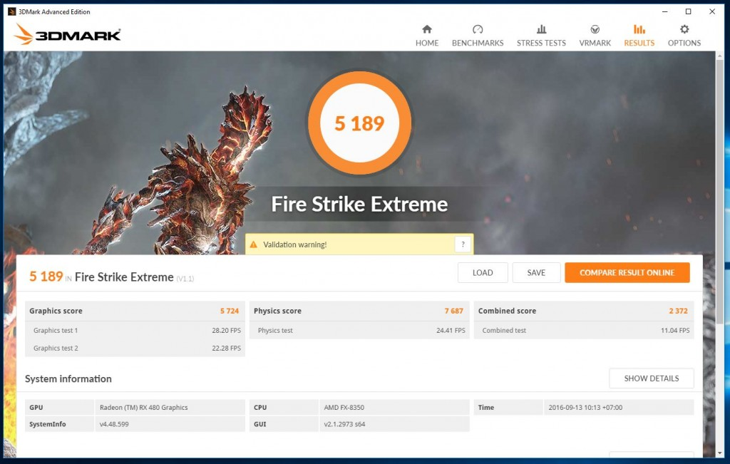 Pengujian RX 480 Firestrike Extreme