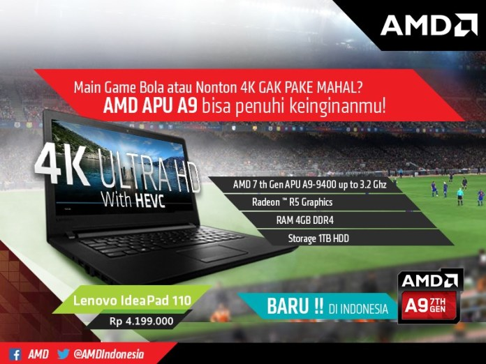 Lenovo IdeaPad 110 7th Gen APU A9-9400