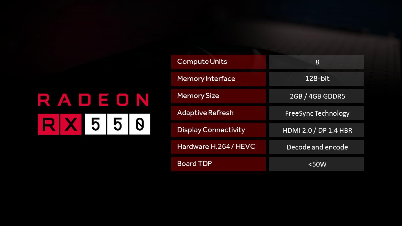 Spesifikasi Radeon RX 550