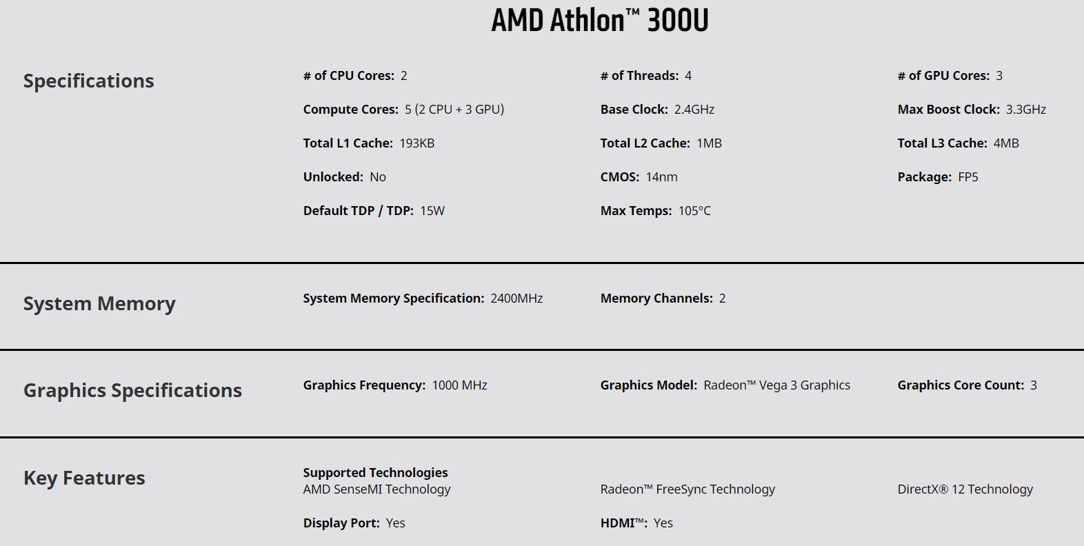 Spesifikasi AMD Athlon™ 300U