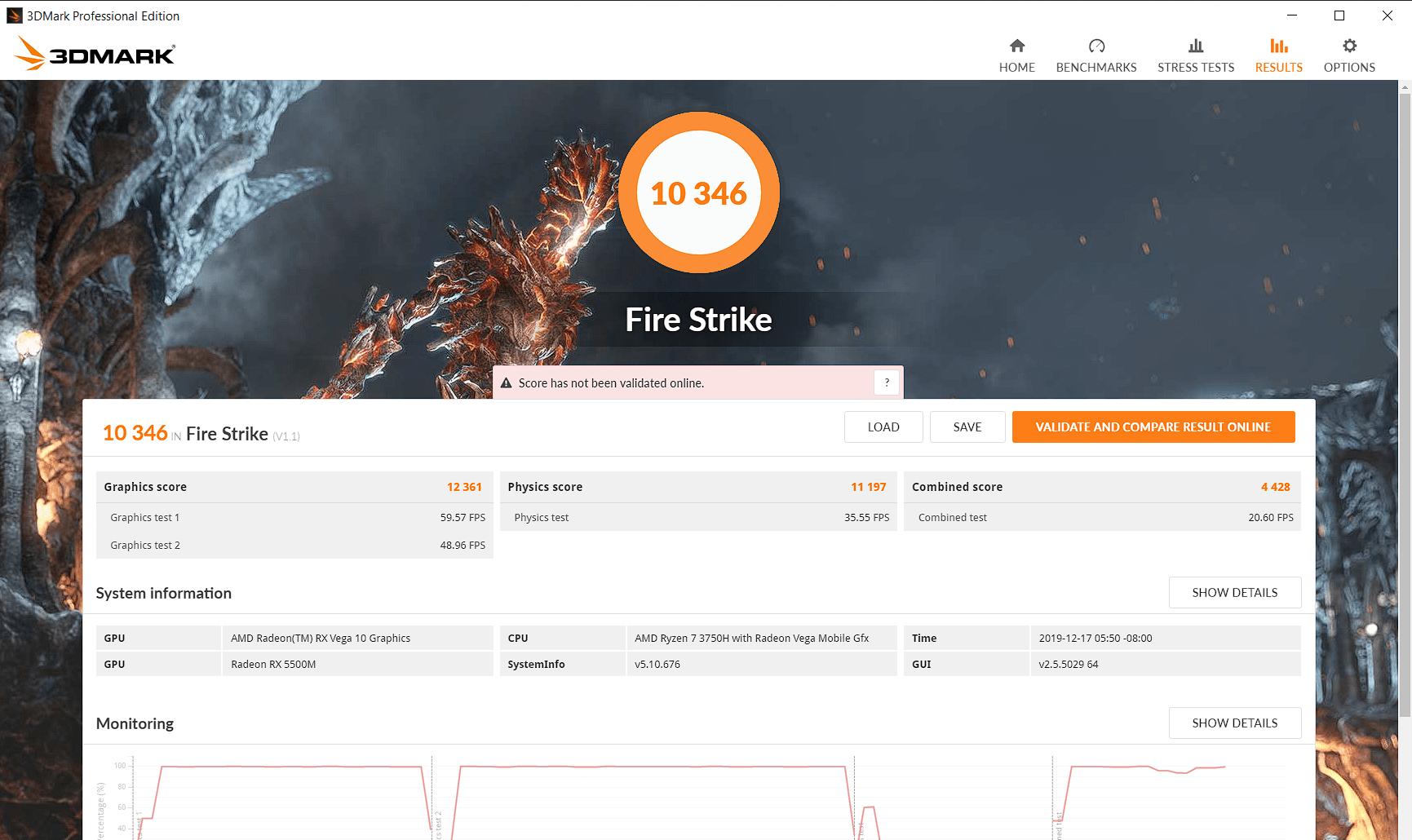 3DMark FireStrike MSI Alpha 15