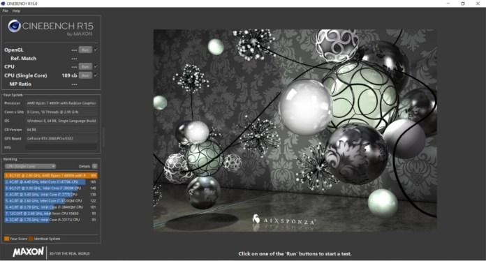 Pengujian Cinebench R15 Single-Core