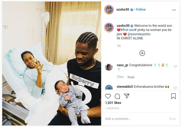Francis Uzoho And Wife Welcome A Baby Boy