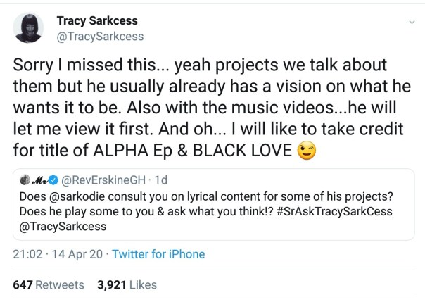 Sarkodie Consults Wife Tracy Sarkcess On Lyrical Content (2)