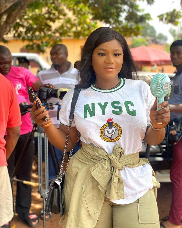 Destiny Etiko Wearing NYSC Uniform (2)