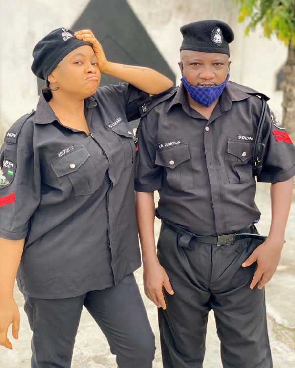 Funmi Awelewa And Olaniyi Afonja Police Uniforms Movie Set (2)