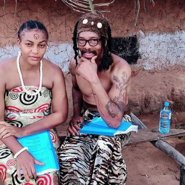 Hank Anuku With Queen Nwokoye On Set New Movie