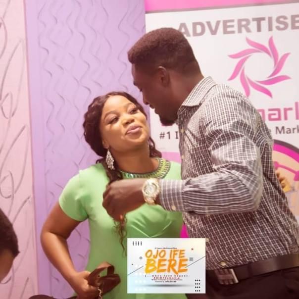 Adeniyi Johnson And Wife Seyi Edun Meet On Set OJO IFE BERE (2)